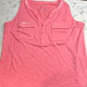 INC Sleeveless cotton top with Bling   Large